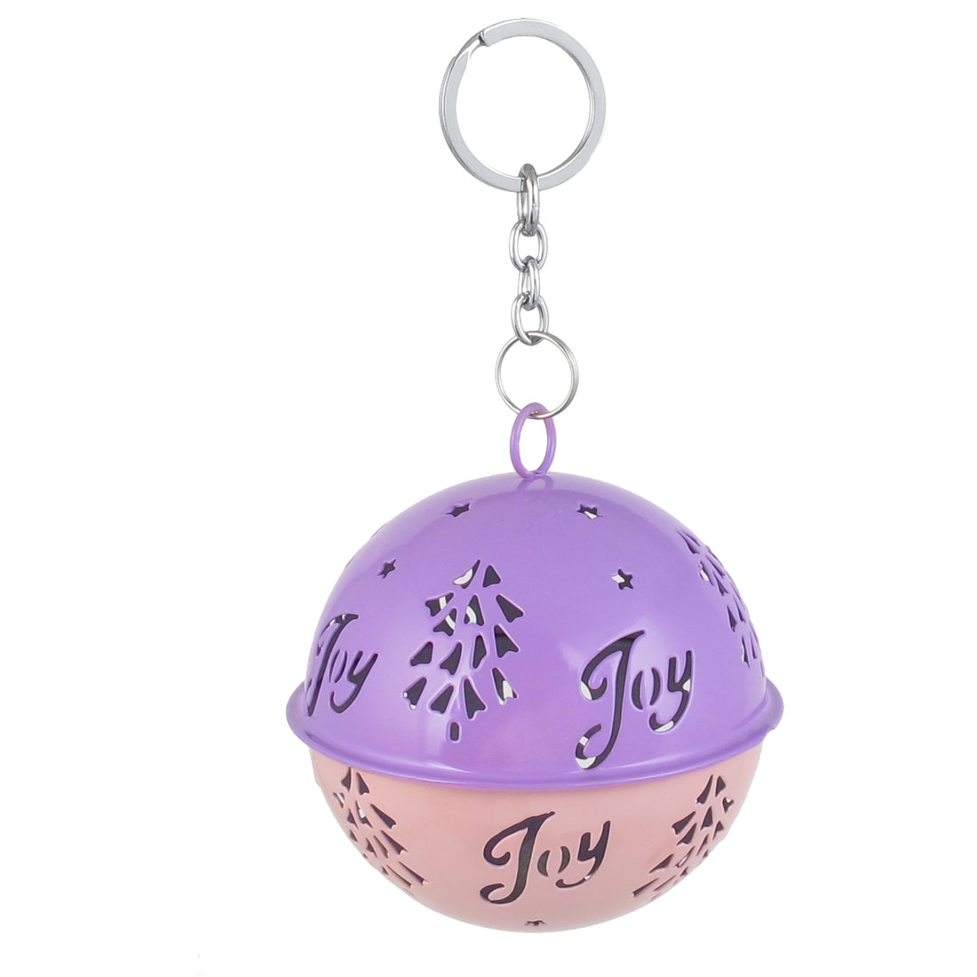 85mm Diameter Purple Pink Metal Christmas Tree Detail Ball Shape Keychain Hollow Out Design Jingle Ring Bell Ornament for Celebration Party Case
