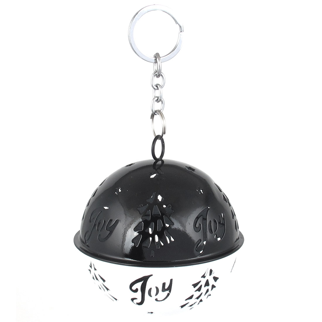 85mm Diameter White Black Metal Christmas Tree Detail Ball Shape Keychain Hollow Out Design Jingle Ring Bell Ornament for Celebration Party Case