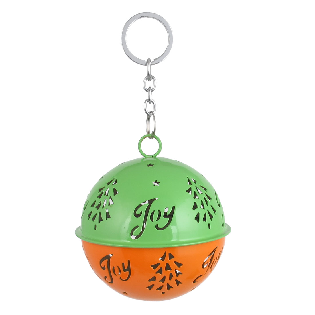 85mm Diameter Orange Green Metal Christmas Tree Detail Ball Shape Keychain Hollow Out Design Jingle Ring Bell Ornament for Celebration Party Case