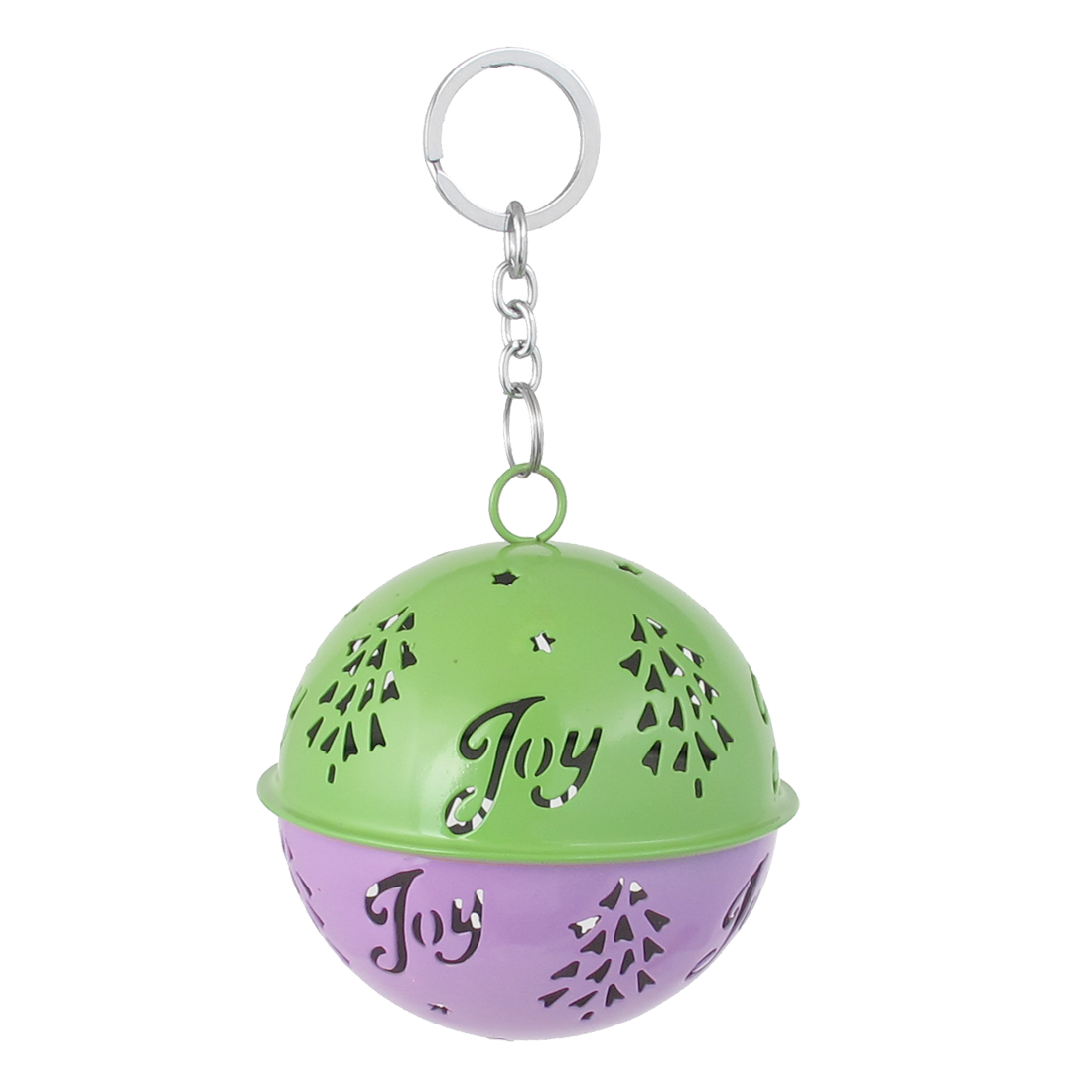 85mm Diameter Purple Green Metal Christmas Tree Detail Ball Shape Keychain Hollow Out Design Jingle Ring Bell Ornament for Celebration Party Case
