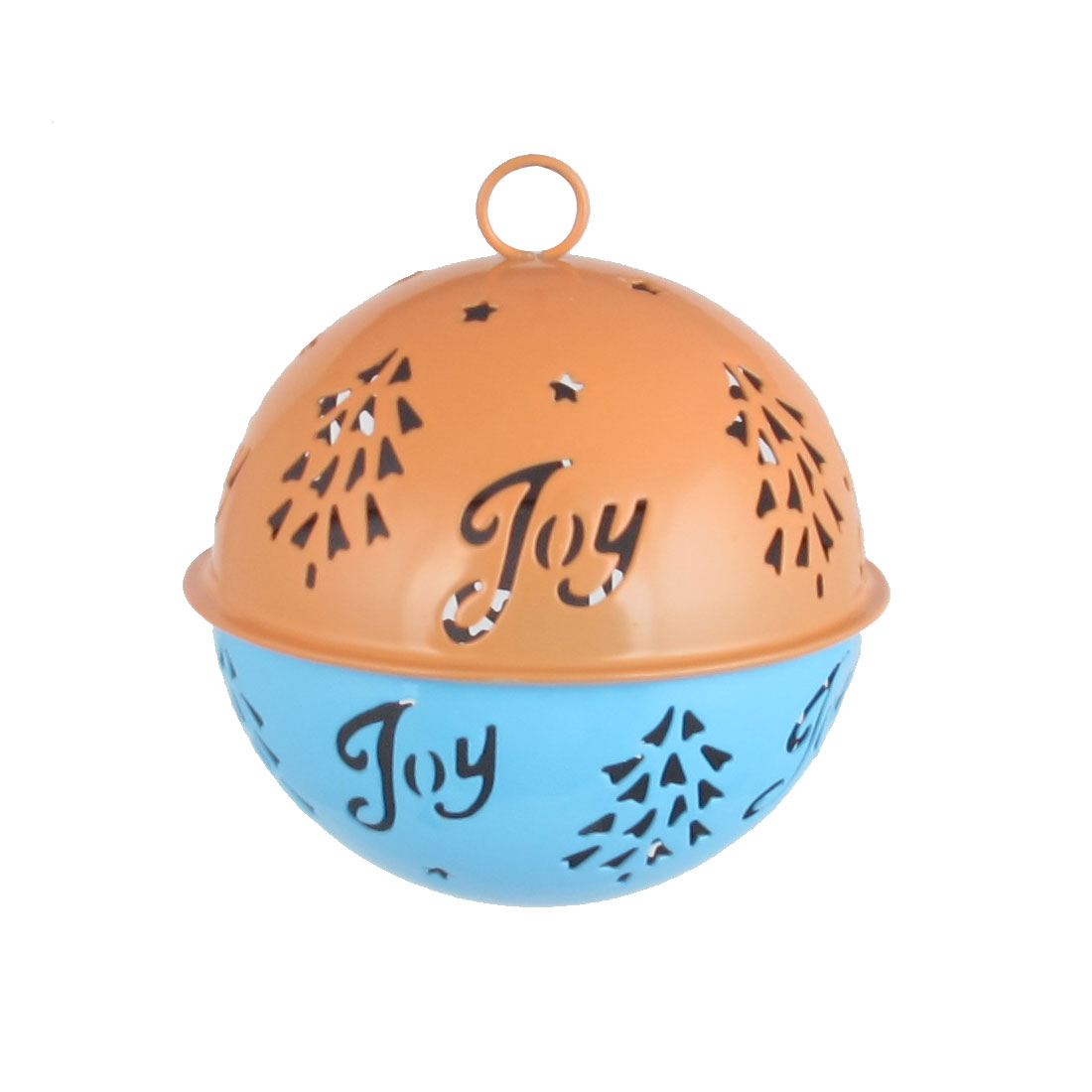 85mm Diameter Blue Orange Metal Christmas Tree Detail Ball Shape Hollow Out Design Jingle Ring Bell Ornament for Celebration Case Party
