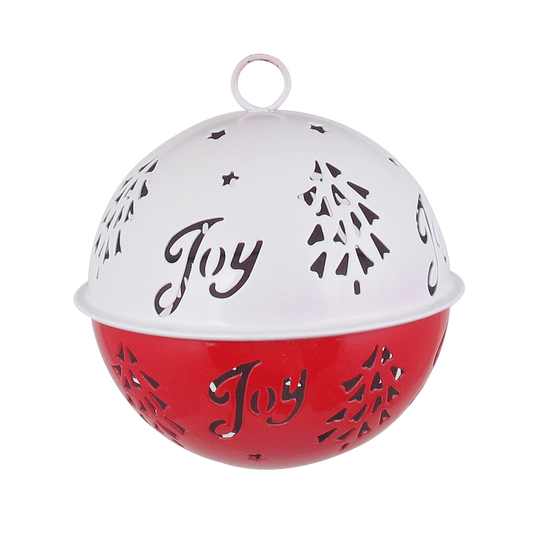 85mm Diameter White Red Metal Christmas Tree Detail Ball Shape Keychain Hollow Out Design Jingle Ring Bell Ornament for Celebration Party Case