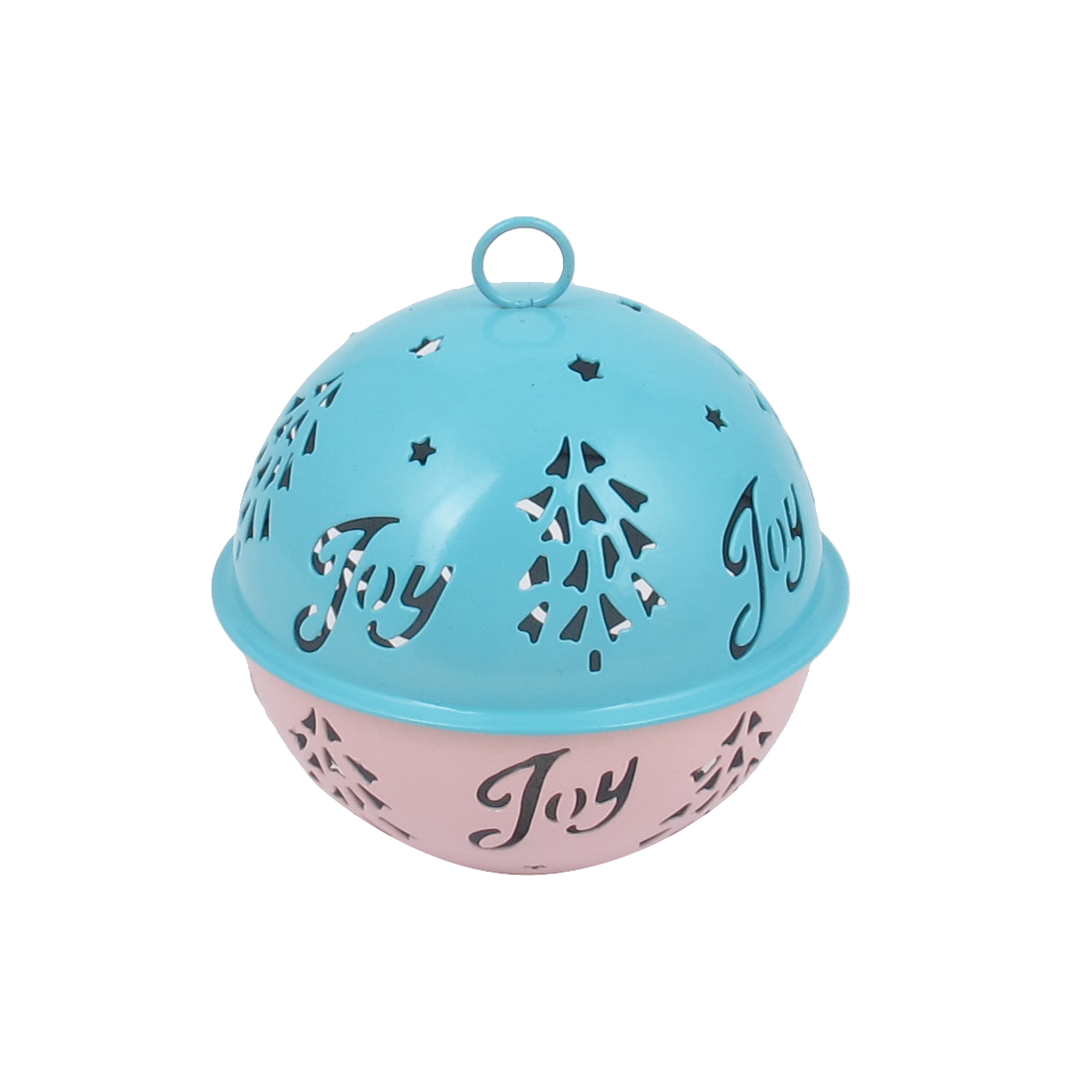 85mm Diameter Blue Pink Metal Christmas Tree Detail Ball Shape Hollow Out Design Jingle Ring Bell Ornament for Celebration Case Party