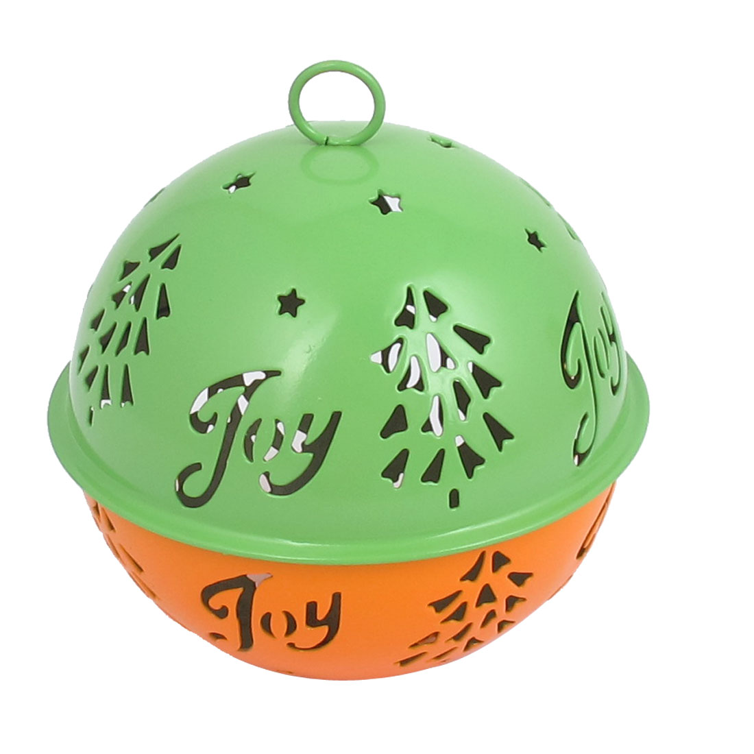 85mm Diameter Green Orange Metal Christmas Tree Detail Ball Shape Hollow Out Design Jingle Ring Bell Ornament for Celebration Case Party