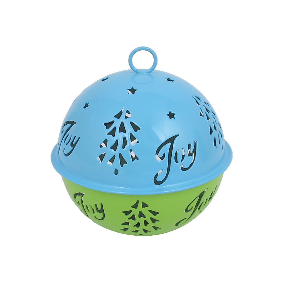 85mm Diameter Blue Green Metal Christmas Tree Detail Ball Shape Hollow Out Design Jingle Ring Bell Ornament for Celebration Case Party