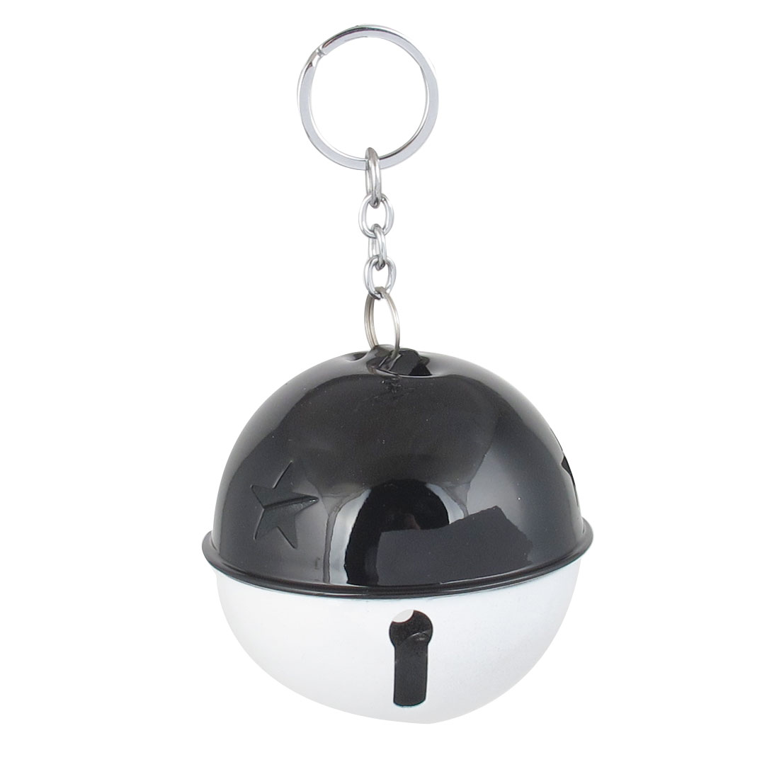 80mm Diameter White Black Metal Keychain Split Hollow Out Design Ring Bell Ornament for Xmas Celebration Case Backpack Purse