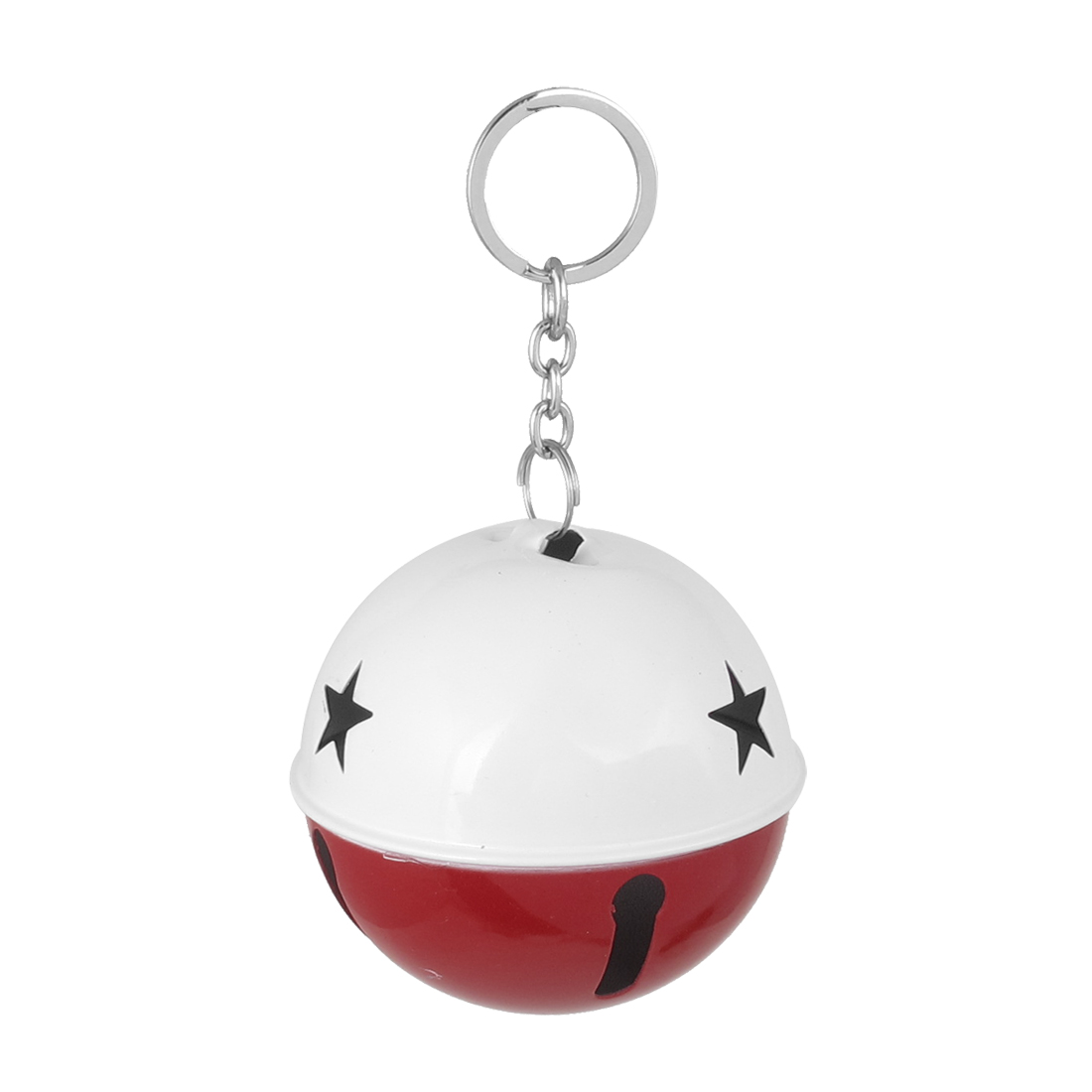 80mm Diameter White Red Metal Keychain Split Hollow Out Design Ring Bell Ornament for Xmas Celebration Case Backpack Purse