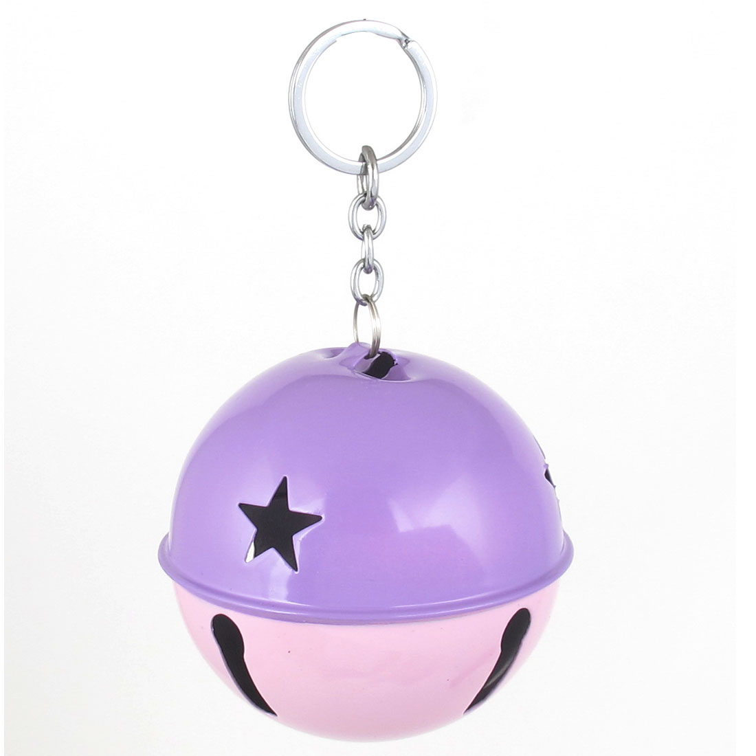80mm Diameter Purple Pink Metal Keychain Split Hollow Out Design Ring Bell Ornament for Xmas Celebration Case Backpack Purse