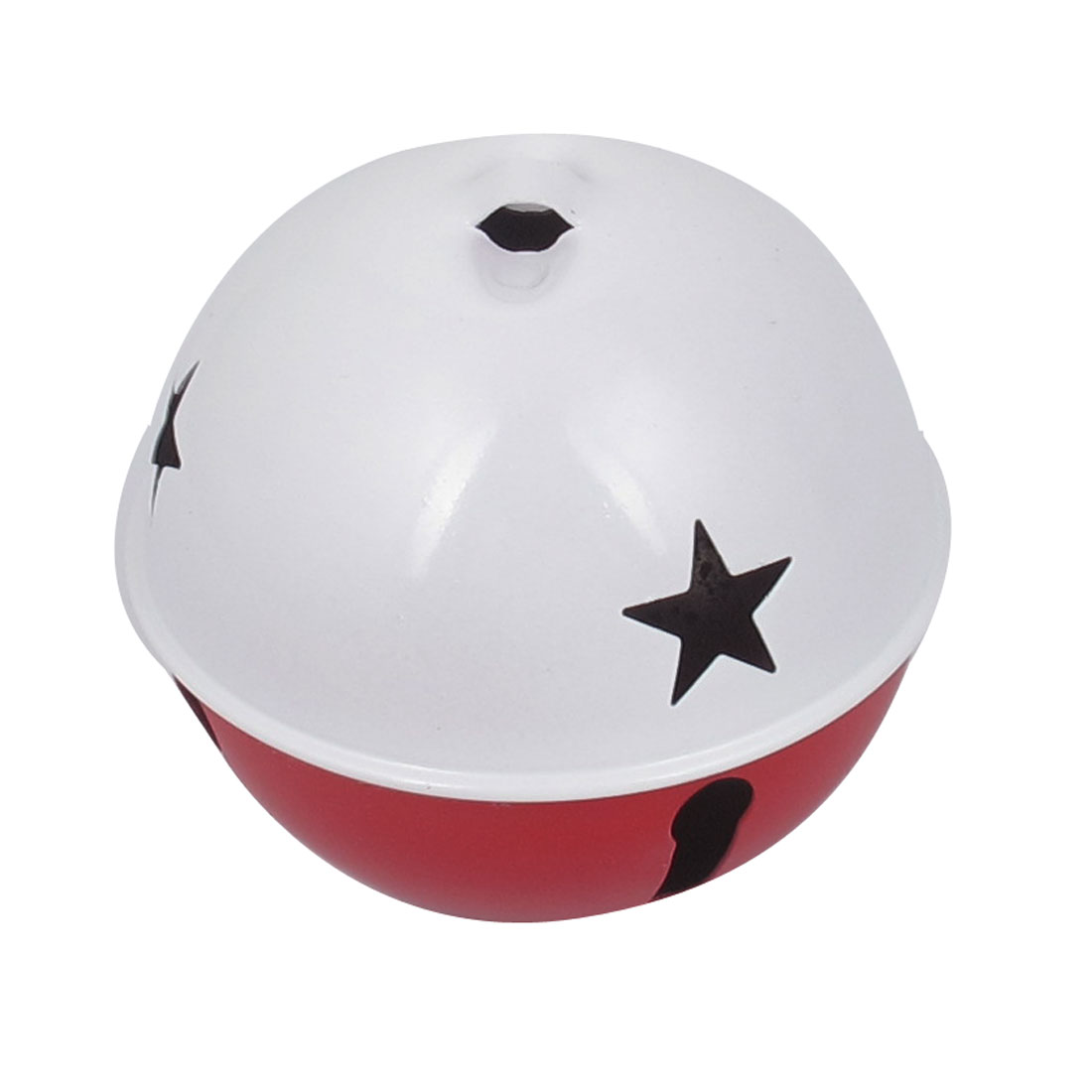80mm Diameter White Red Metal Star Detail Ball Shape Hollow Out Design Jingle Ring Bell Ornament for Christmas Tree Party