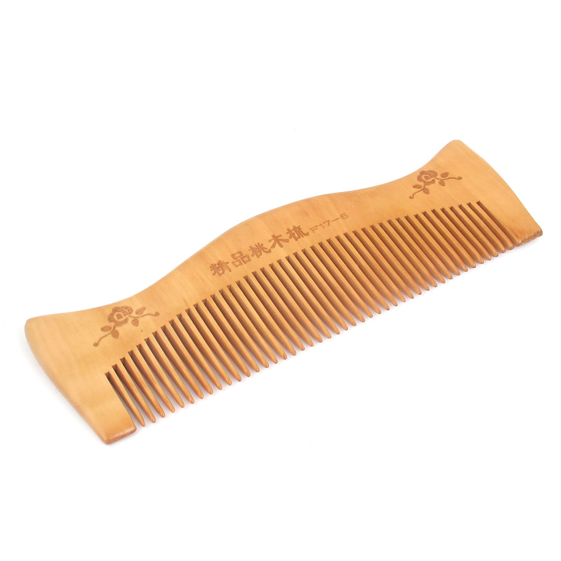 "Ladies Men Wood Healthy Hair Care Toothed Portable Natural Antistatic Lightweight Comb Wooden Color 6.3"" Length"