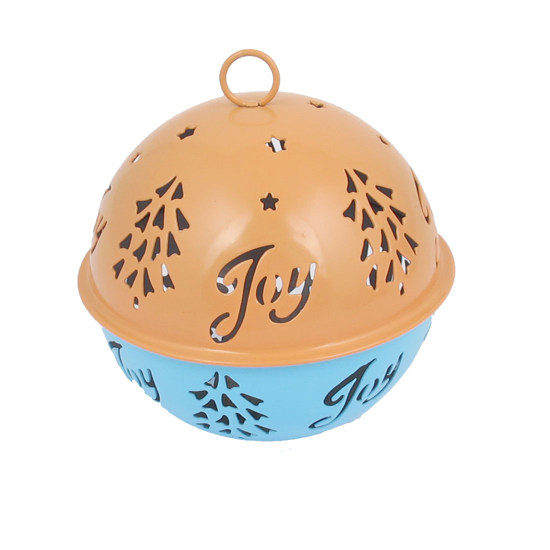 85mm Diameter Blue Orange Metal Christmas Tree Detail Ball Shape Hollow Out Design Jingle Ring Bell Ornament for Celebration Party Case