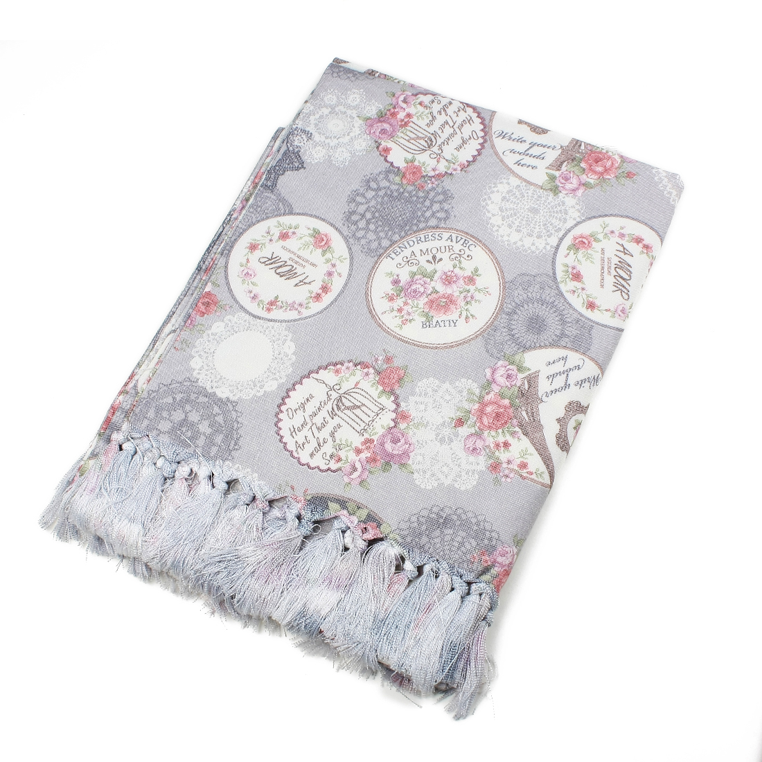 Household Floral Rectangle Tablecloth 135 x 220cm Light grey