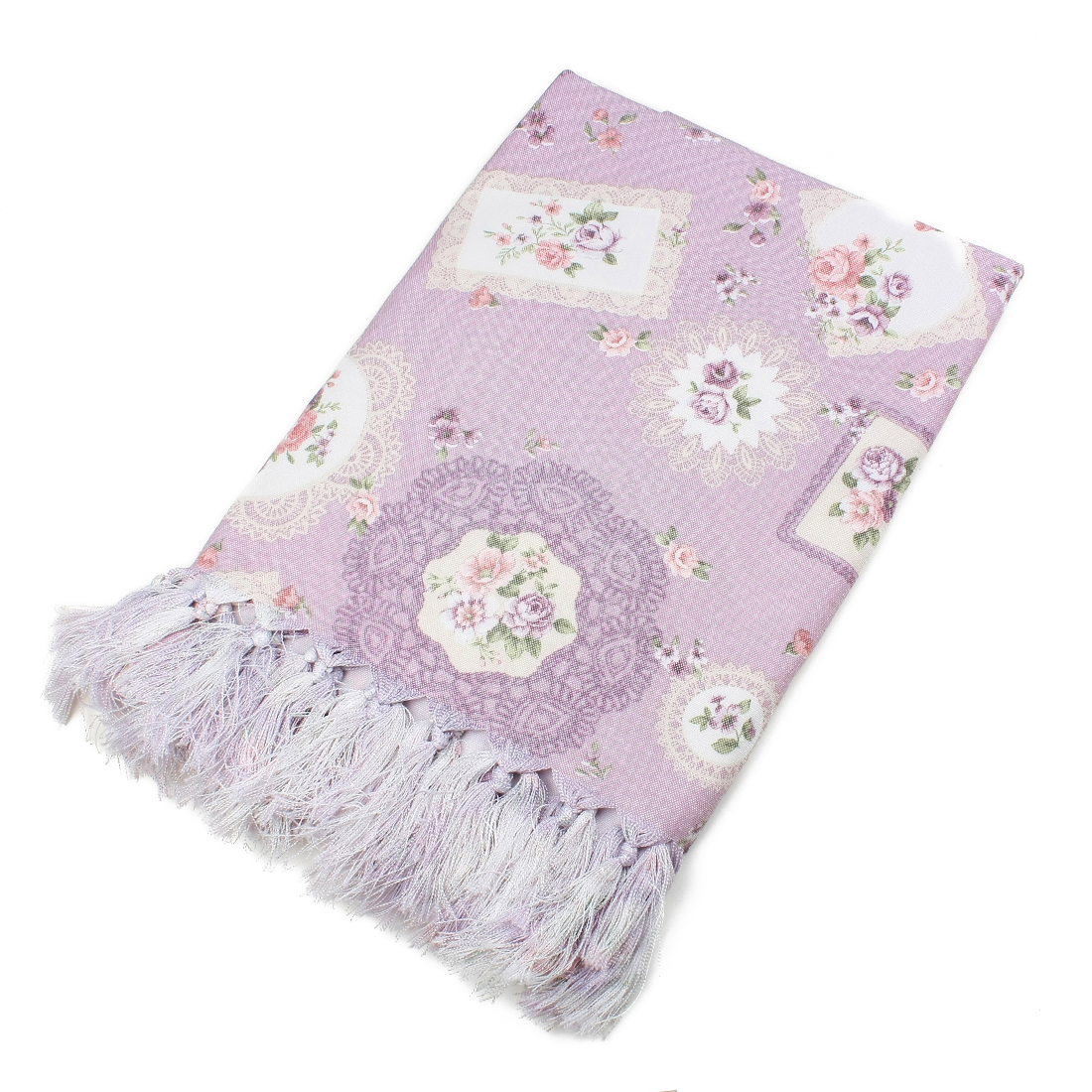 Household Floral Tablecloth 135 x 220cm Light Purple