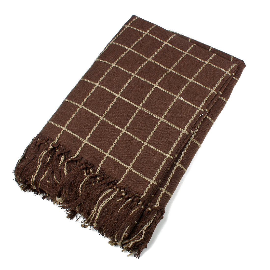 Grid Rectangle Easy to Clean Tablecloth 135 x 200cm Red Brown