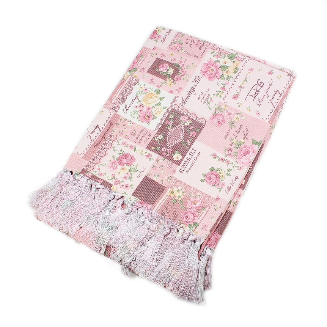 Cotton Terylene Floral Pattern Rectangle Tablecloth 135 x 135cm Pink