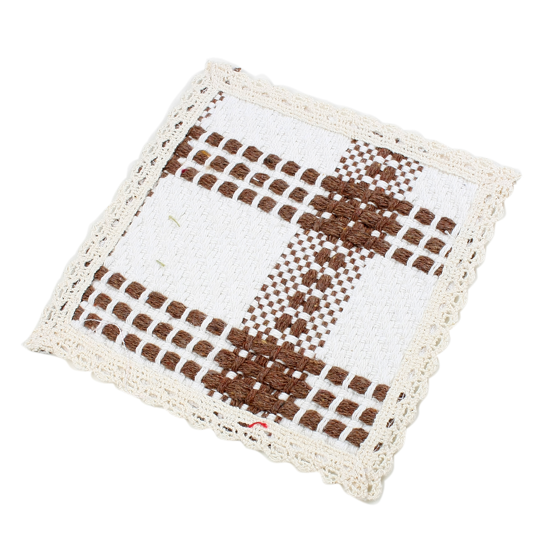 Cotton Grid Heat Resistant Cup Mat Pad Coaster Placemat Coffee Color