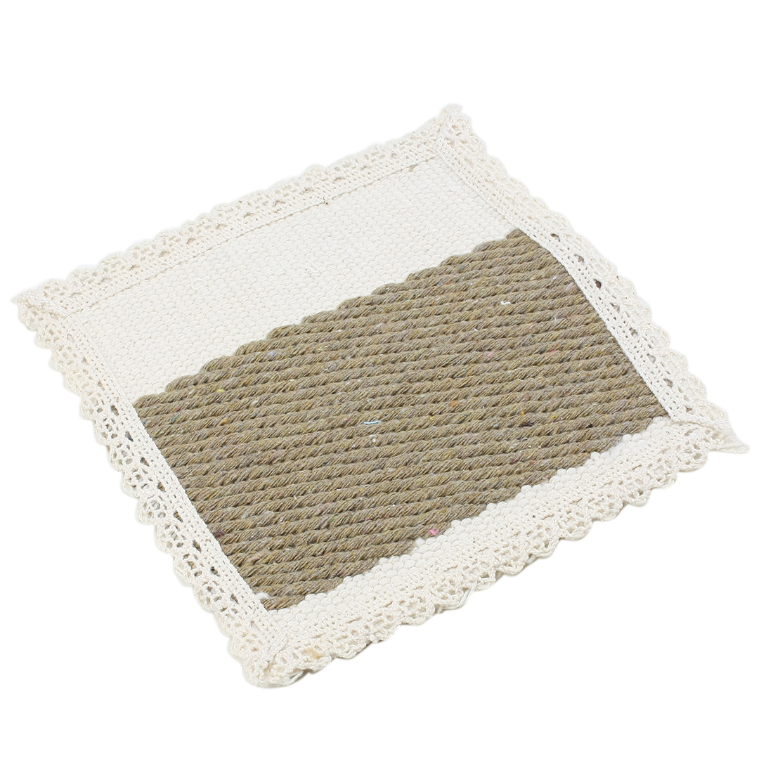 Cotton Beige and Brown Intertwined Heat Resistant Table Cup Mat Placemat 15 x 15cm