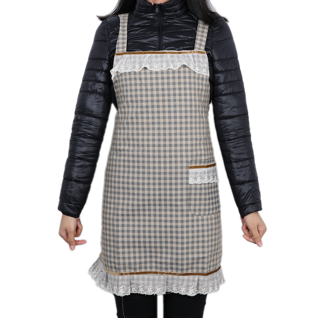 Grid Pocket Kitchen Apron for Women Carbon Color