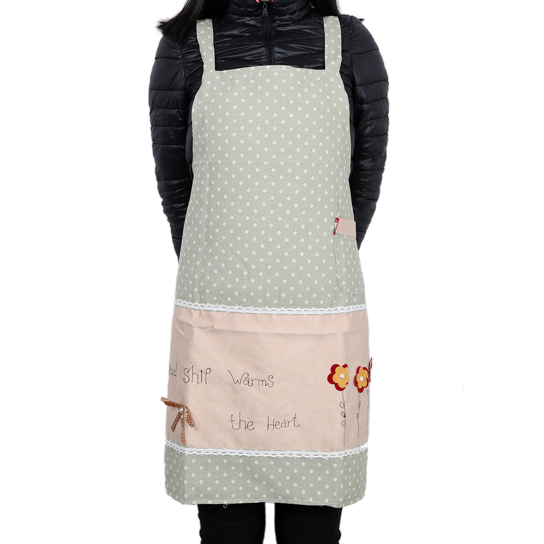 English Letter Dot Style Pocket Kitchen Apron for Lady