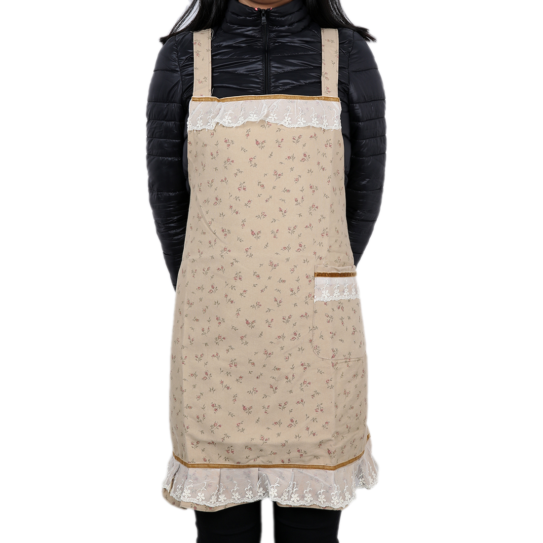 Floral Style Lady Cooking Plain Apron w Front Pocket Chefs