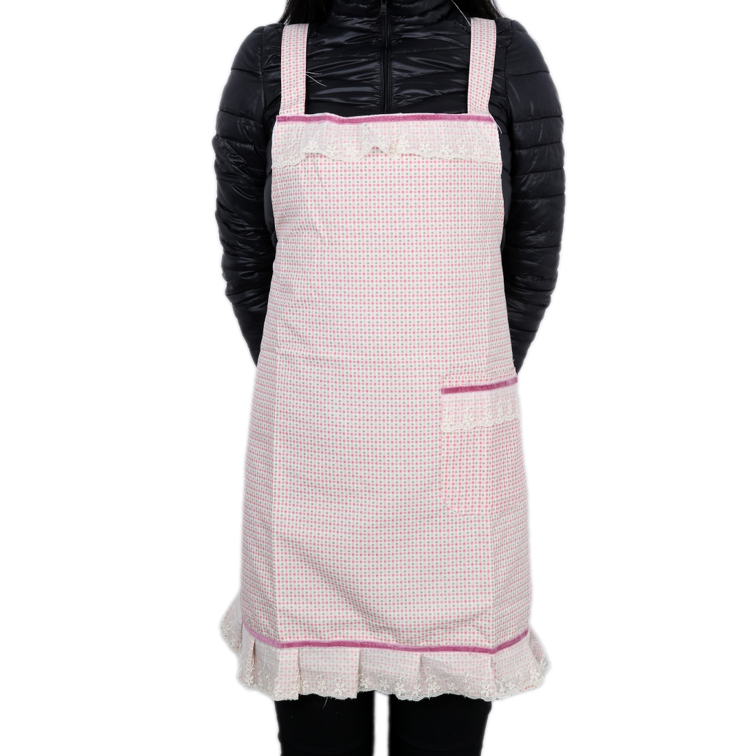 Adult Kitchen Bib Cooking Apron Lady Chefs w Pocket Pink