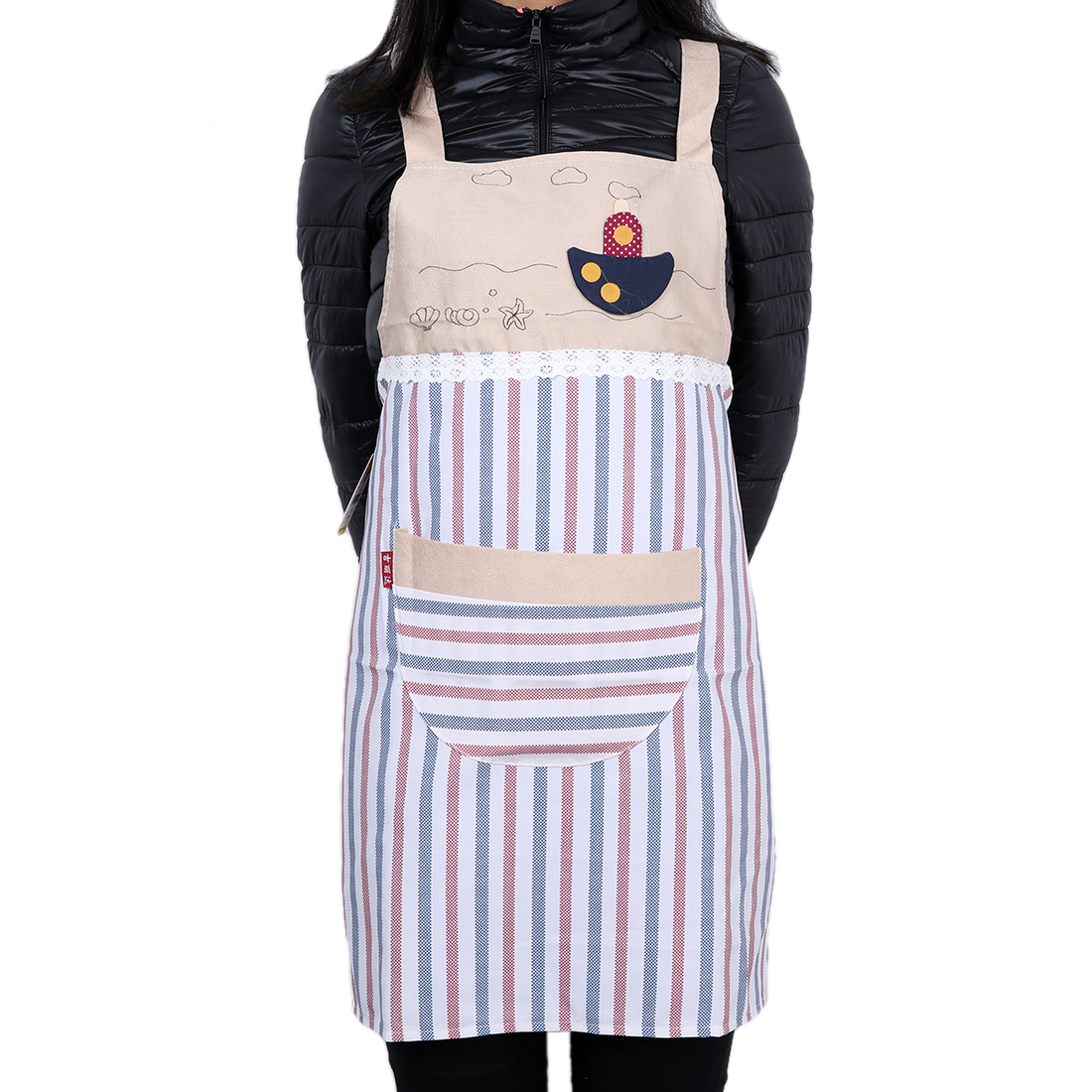 Red and Blue Vertical Stripe Kitchen Bib Apron Dress with Pocket
