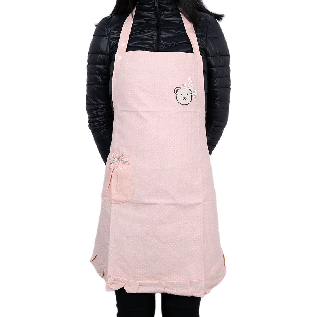 Polka Dot Pink Cooking Plain Butchers Kitchen Apron with Pocket Pink