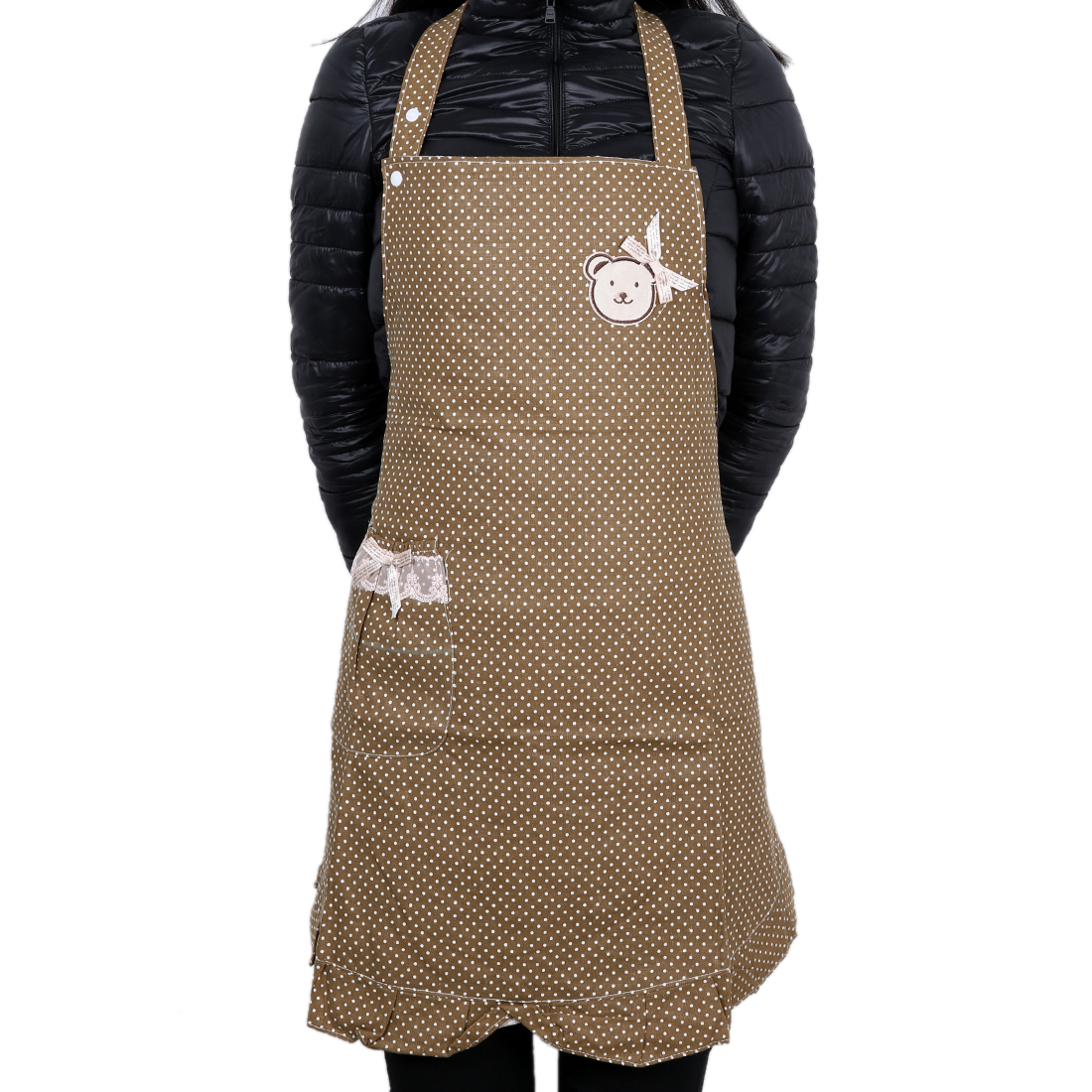 Polka Dot Pink Cooking Plain Apron with Front Pocket Coffee Color