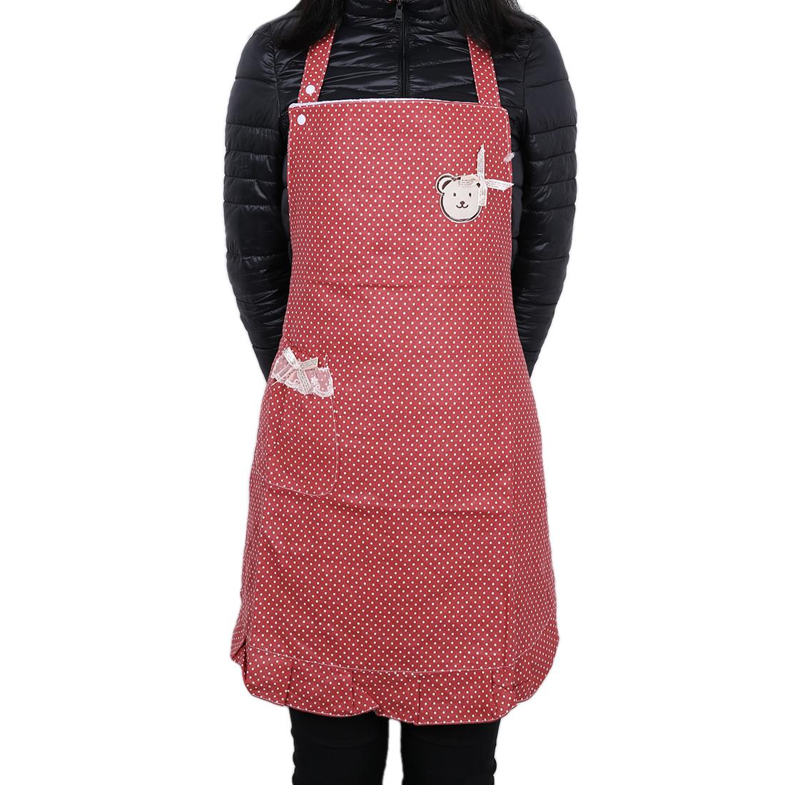 Polka Style Lady Chefs Butchers Kitchen Craft Bib Red