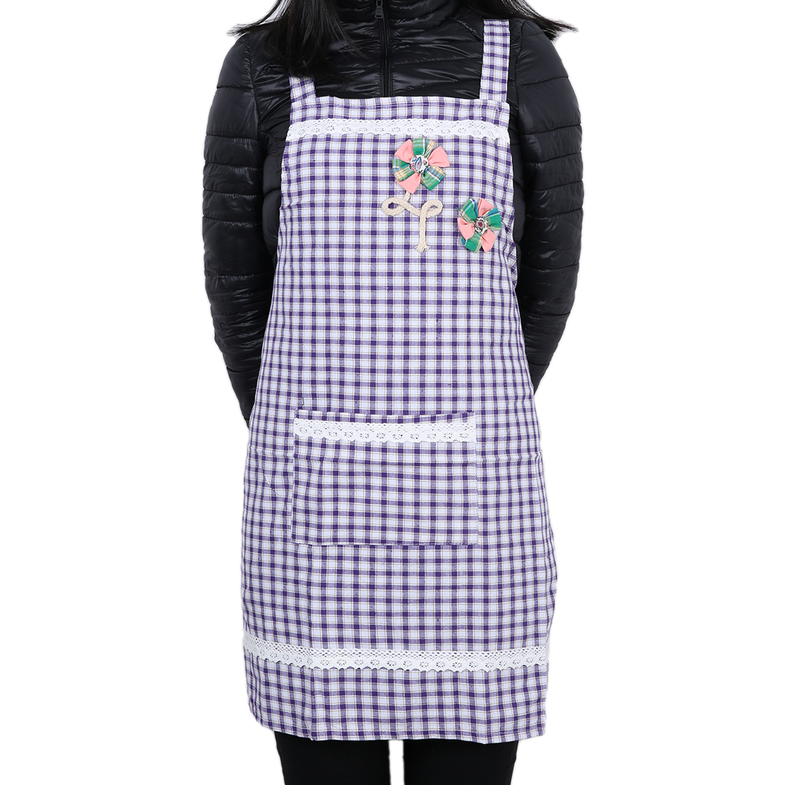Grid Chefs Kitchen Bib Cooking Apron for Women Deep Purple