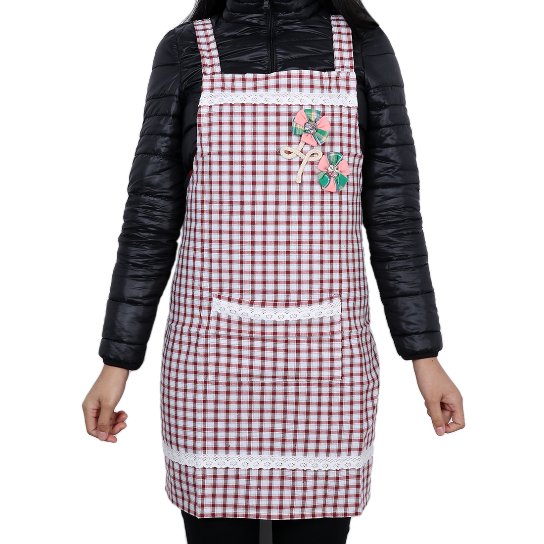 Grid Chefs Kitchen Bib Cooking Apron for Lady Purplish Red