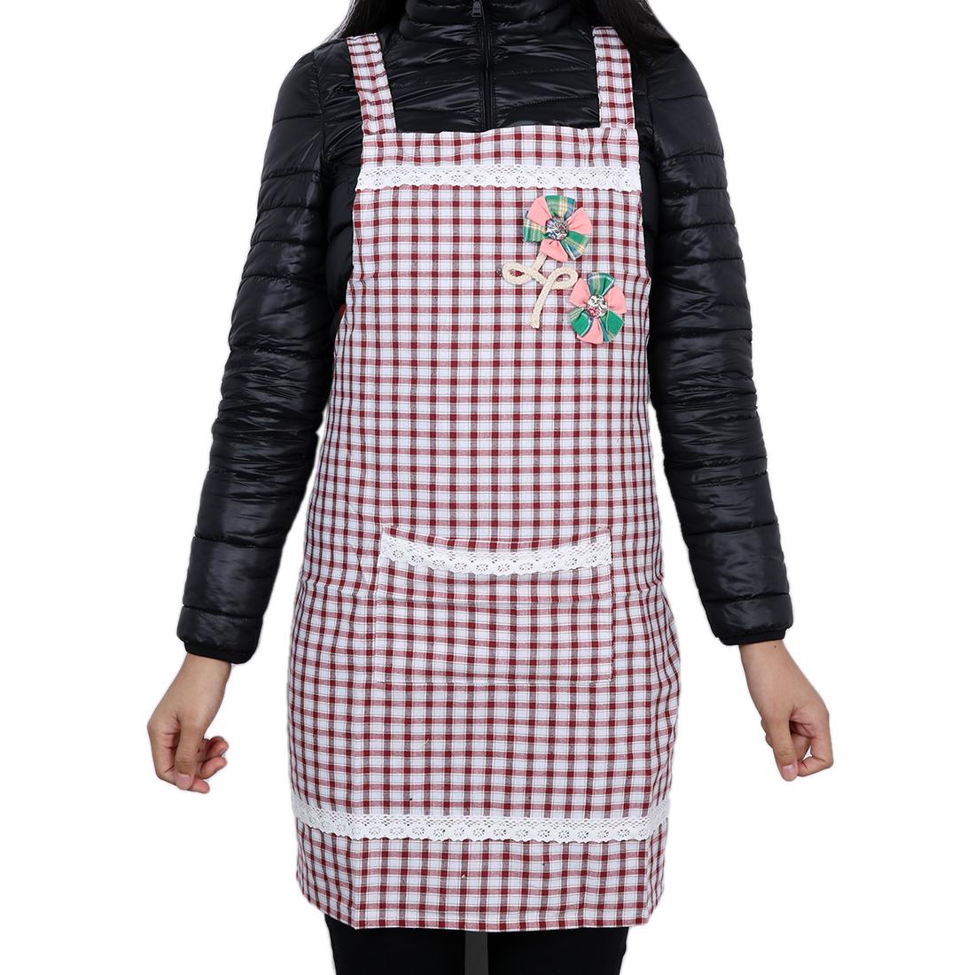 Grid Chefs Kitchen Bib Cooking Apron for Lady Purplish Red