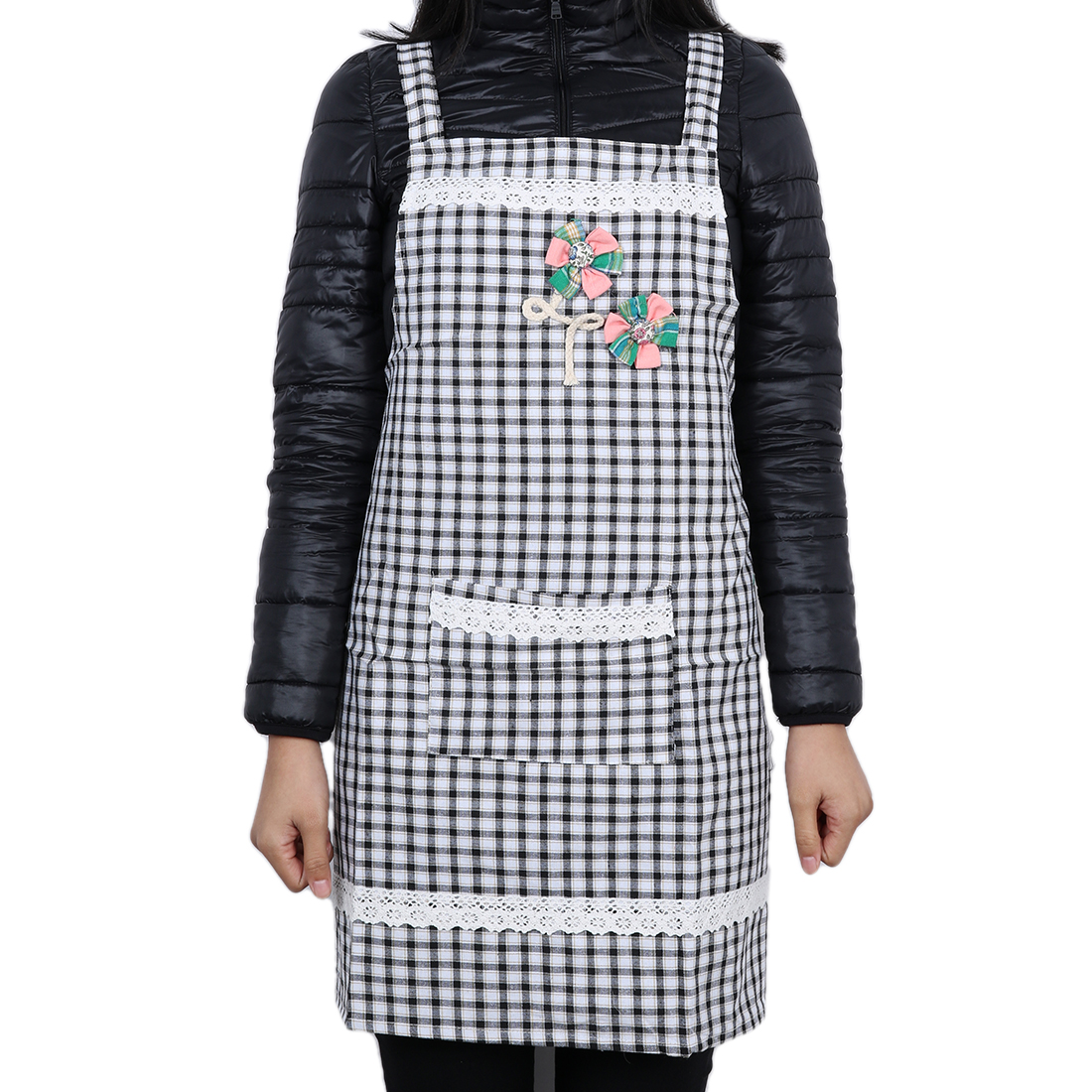 Grid Chefs Butchers Kitchen Craft Bib Apron for Women Deep Black
