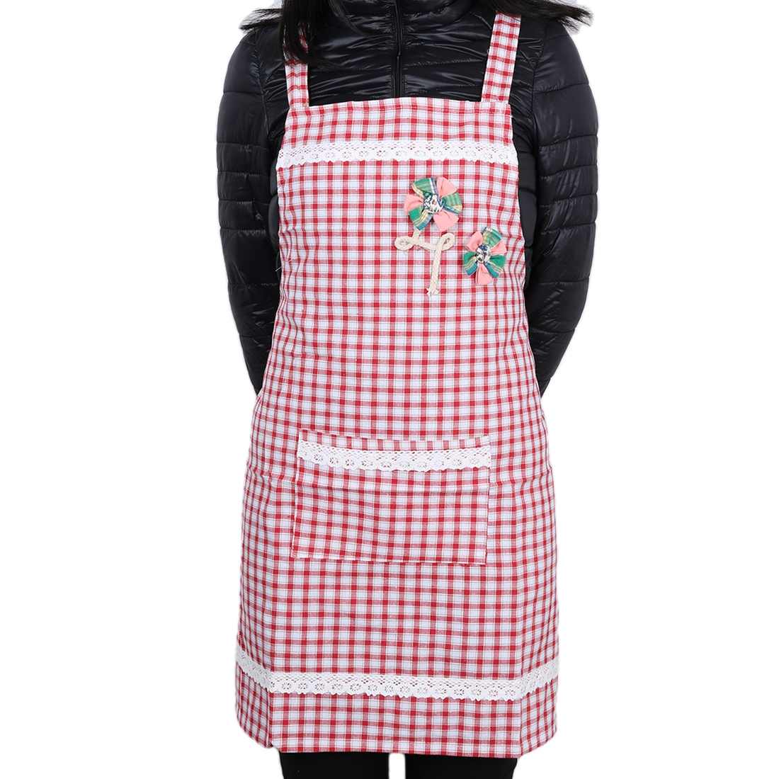 Grid Lady Chefs Butchers Apron Kitchen For Women Red