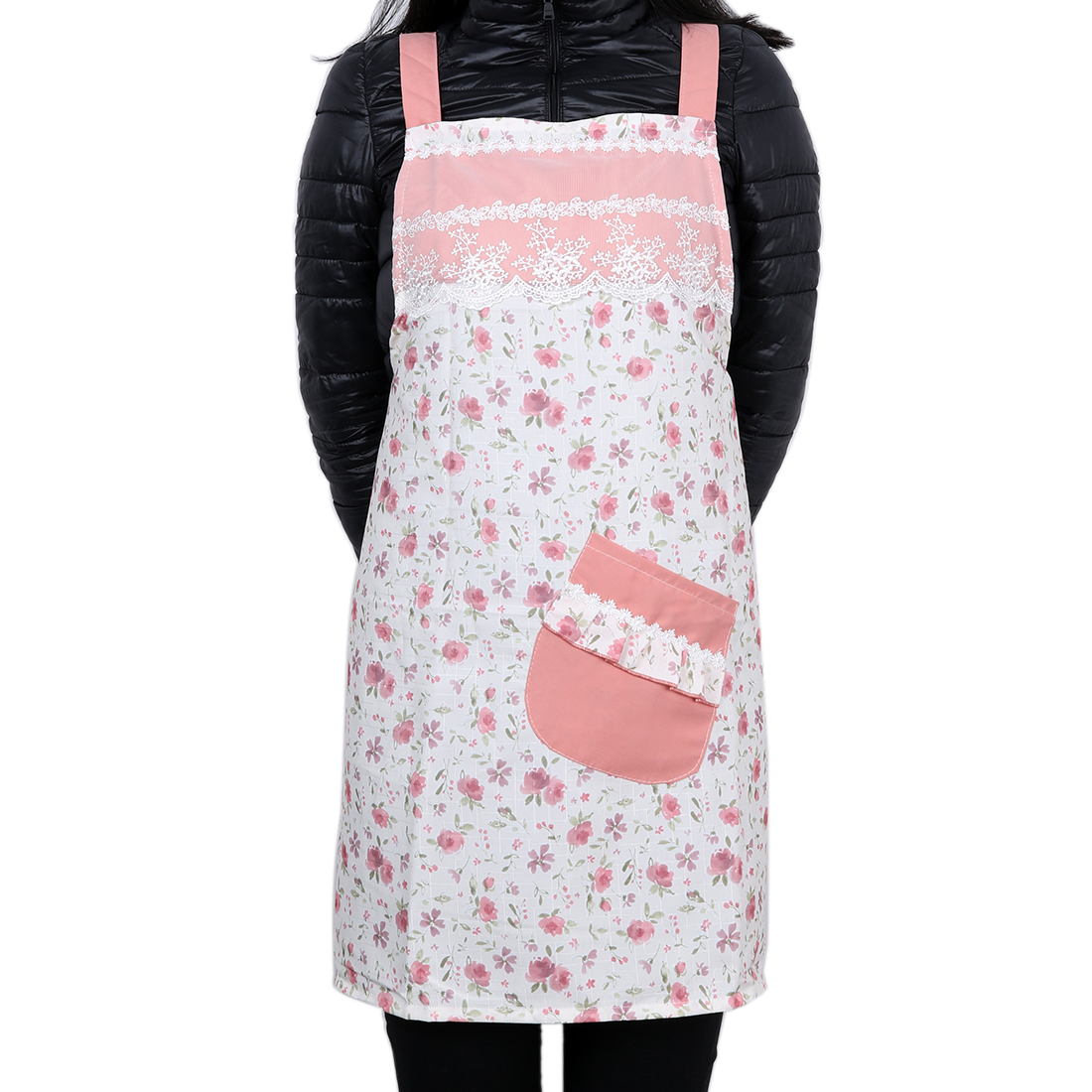 Floral Style Lady Chef Butcher Apron Kitchen Cooking Craft Baking Peachpuff