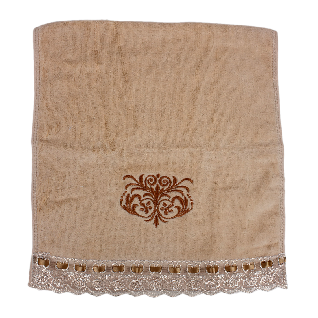Embroidered Lace Facecloth Washcloth Hand Towel Beige