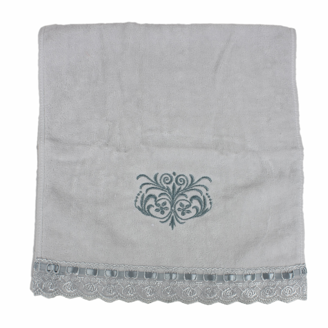 Embroidered Lace Rectangle Facecloth Cotton Towel 35 x 74cm