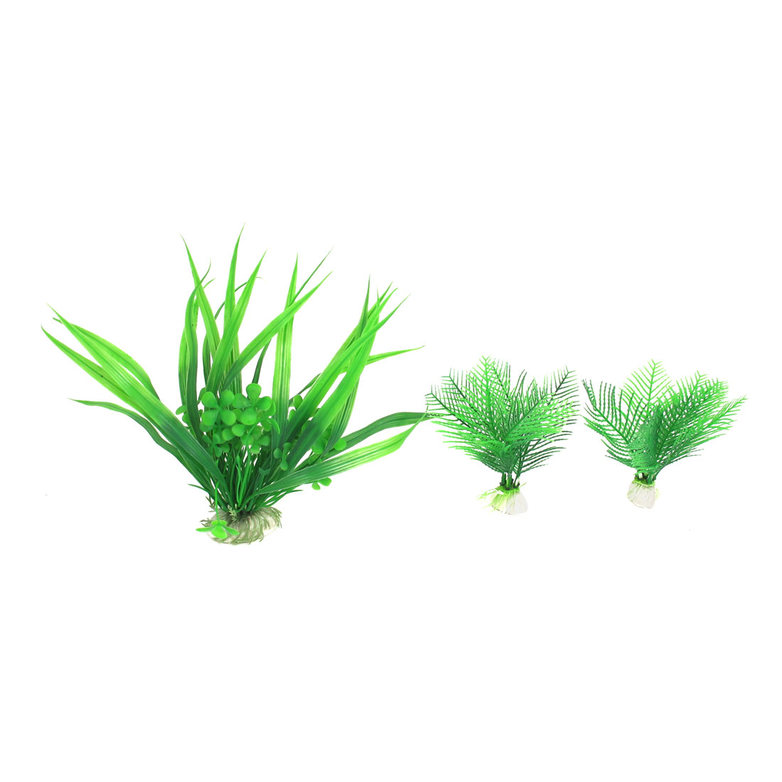 3 Pcs Green Plastic Oval Ceramic Base Artificial Ornament Underwater Plants for Fish Tank Aquarium