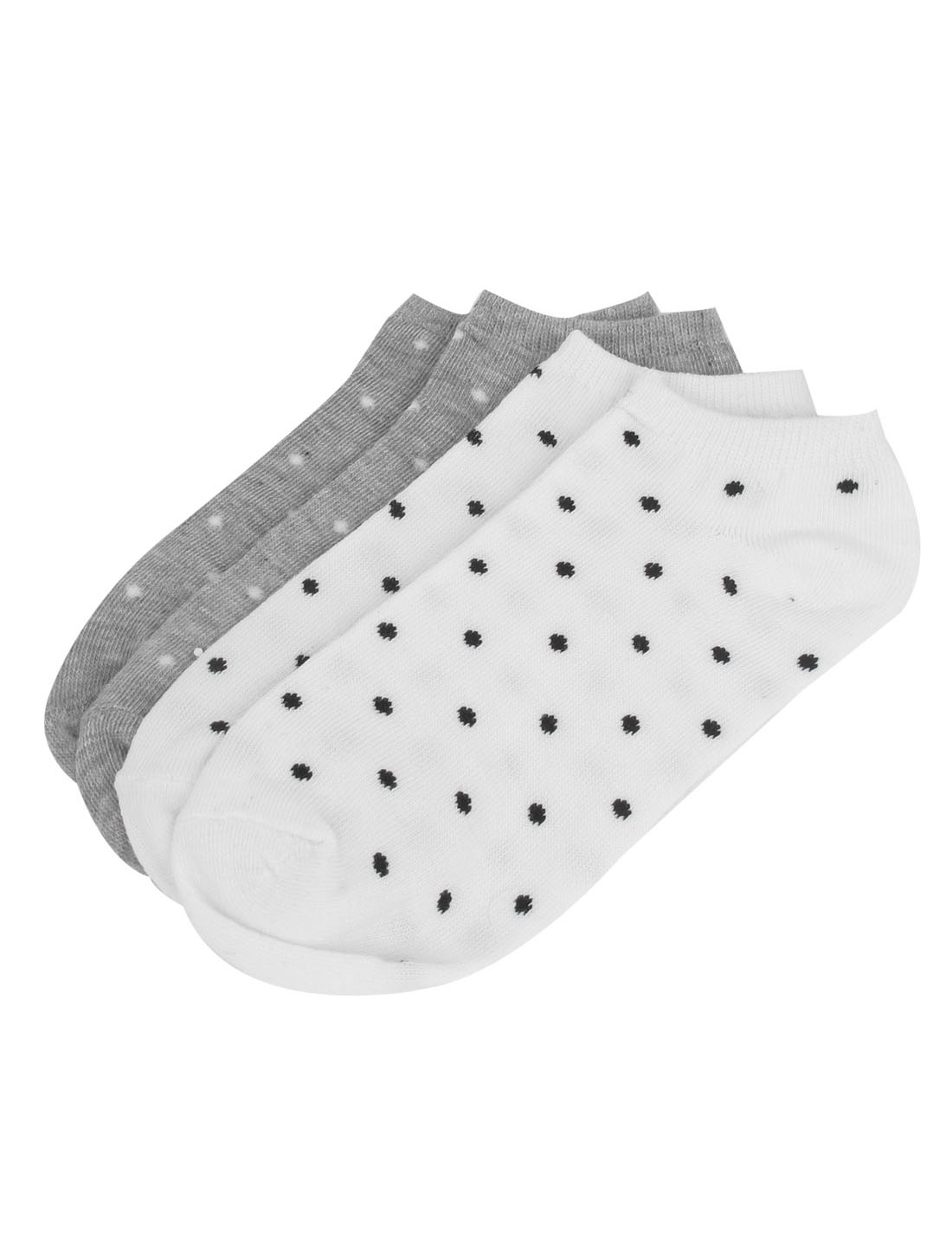 2 Pairs White Black Cotton Blends Elastic Fabric Stretch Cuff Dots Pattern Short Low Cut Ankle Mesh Socks for Ladies Women