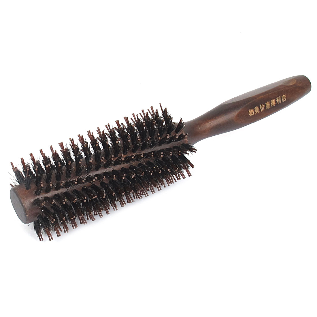 "9"" Length Chocolate Color Plastic Round Quill Bristle Radial Curling Hairdressing Tool Wood Handle Soft Tooth Hair Comb Brush for Ladies"