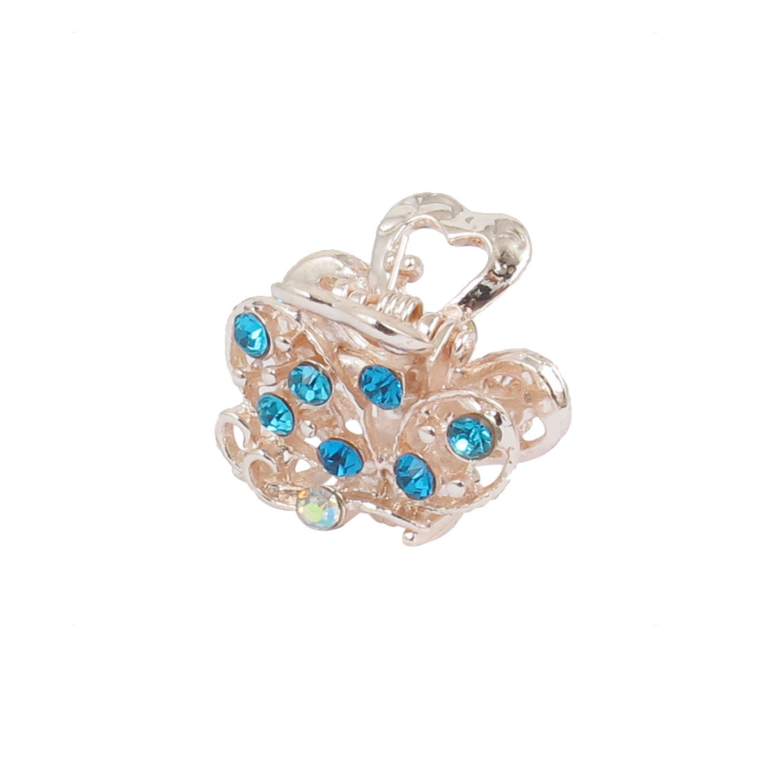 2cm Length Copper Tone Blue Metal Rhinestones Inlaid Jaw Hair Claw Clip Bobby Pins Hairpin Accessories for Woman Girl