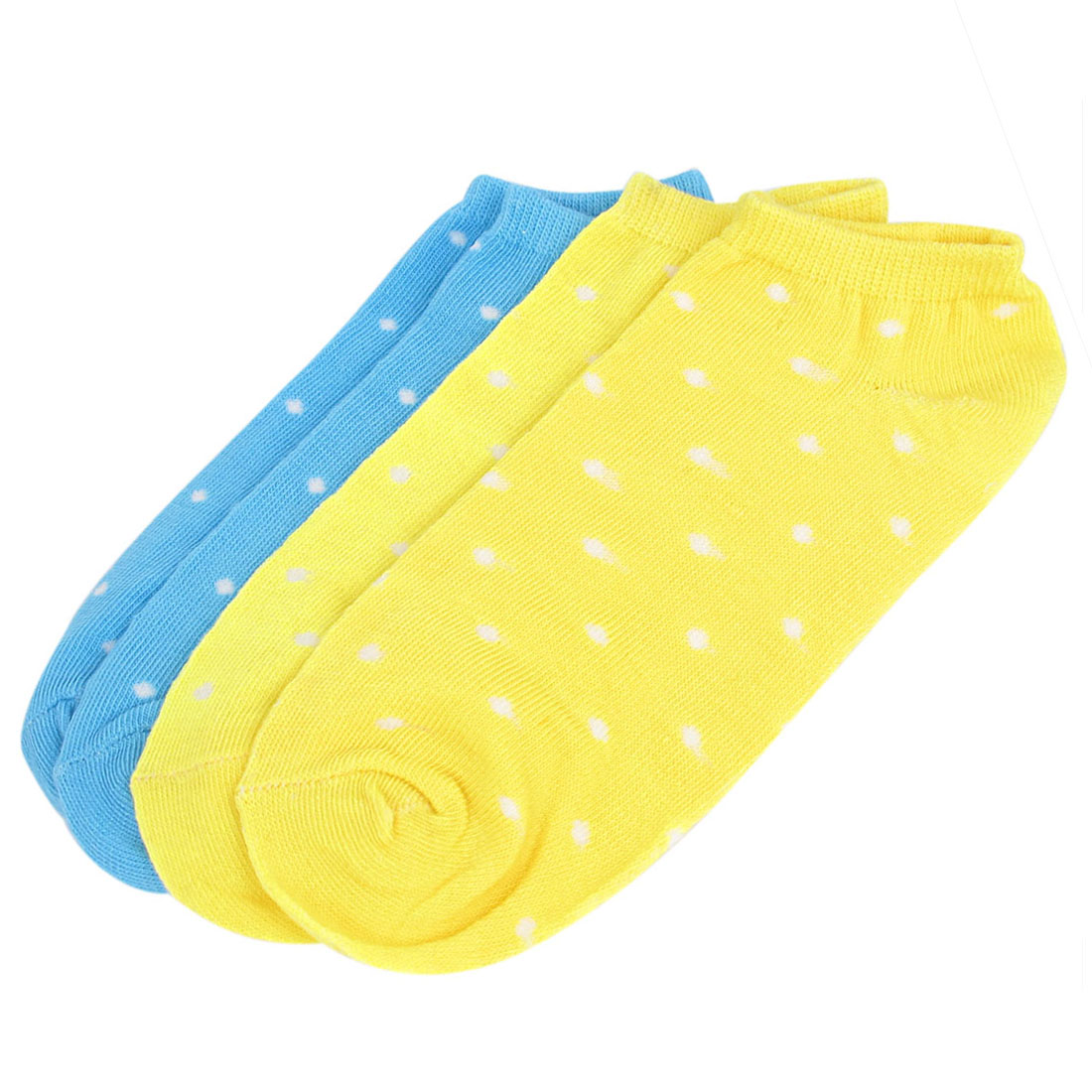 2 Pairs Blue Yellow Cotton Blends Elastic Fabric Stretch Cuff Wave Point Pattern Short Low Cut Ankle Mesh Socks for Ladies Women