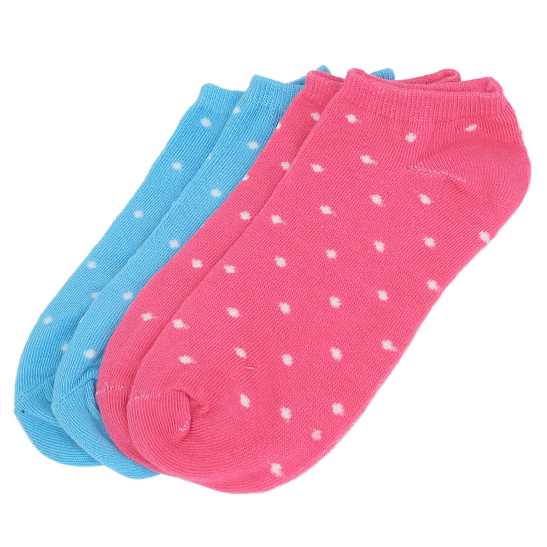 2 Pairs Blue Red Cotton Blends Elastic Fabric Stretch Cuff Dots Pattern Short Low Cut Ankle Mesh Socks for Ladies Women