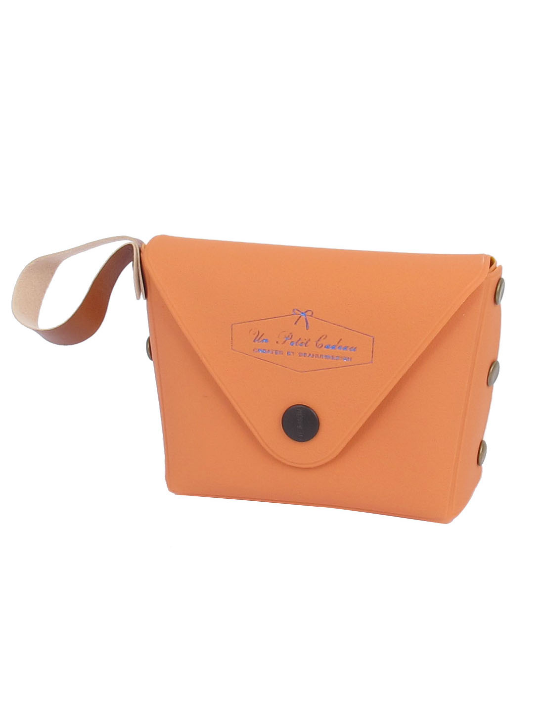 "3.7"" Length Orange Faux Leather Cute Mini Single Compartment English Words Pattern Portable Change Coin Purse Cash Key for Kids Ladies"