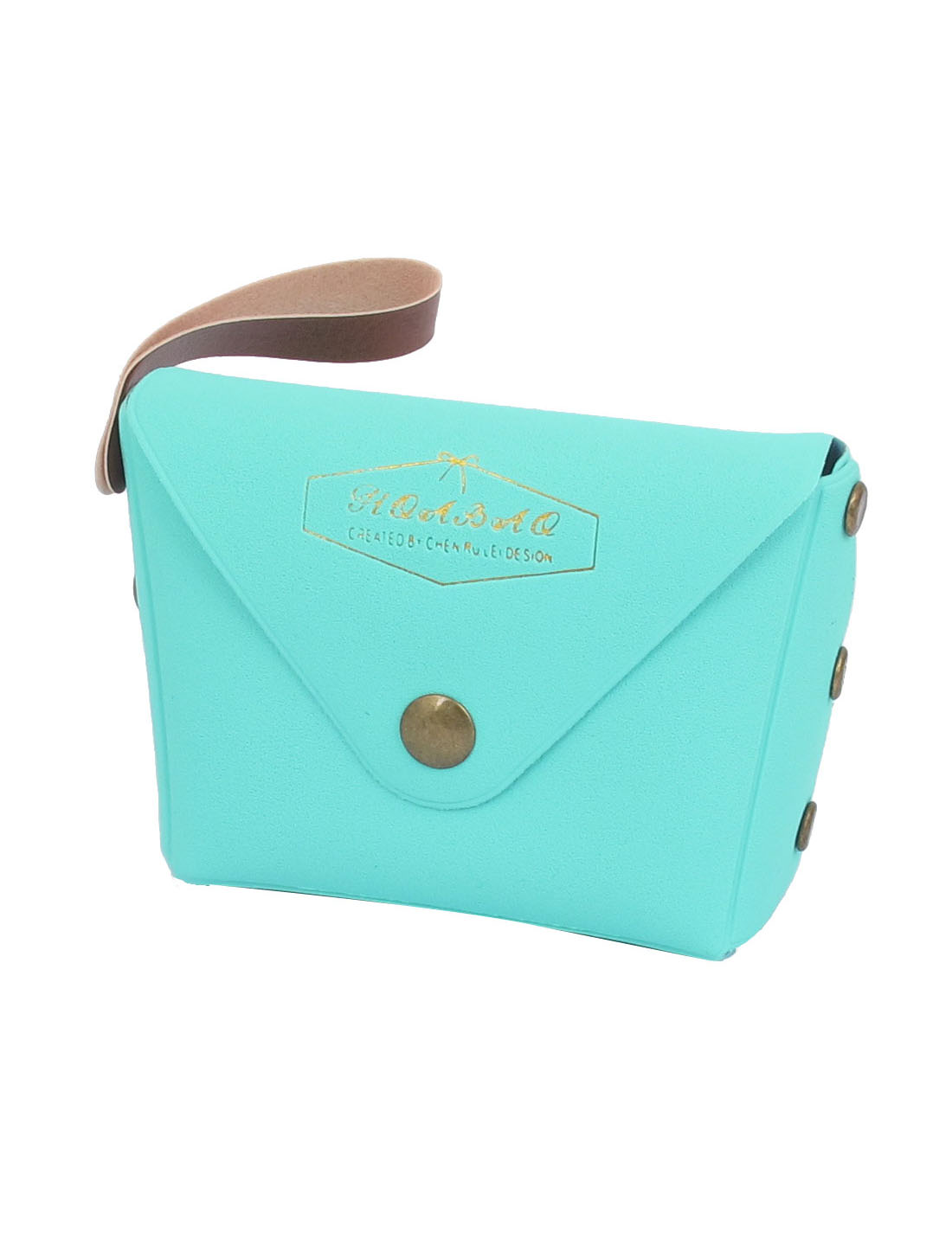 "3.7"" Length Aquamarine Color Faux Leather Cute Mini Single Compartment English Words Pattern Portable Change Coin Purse Cash Key for Kids Ladies"