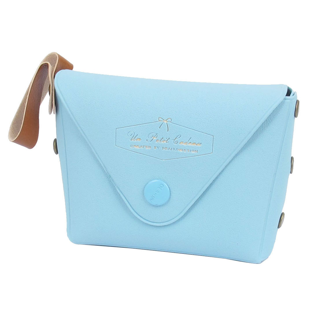 "3.7"" Length Baby Blue Faux Leather Cute Mini Single Compartment English Words Pattern Portable Change Coin Purse Cash Key for Kids Ladies"