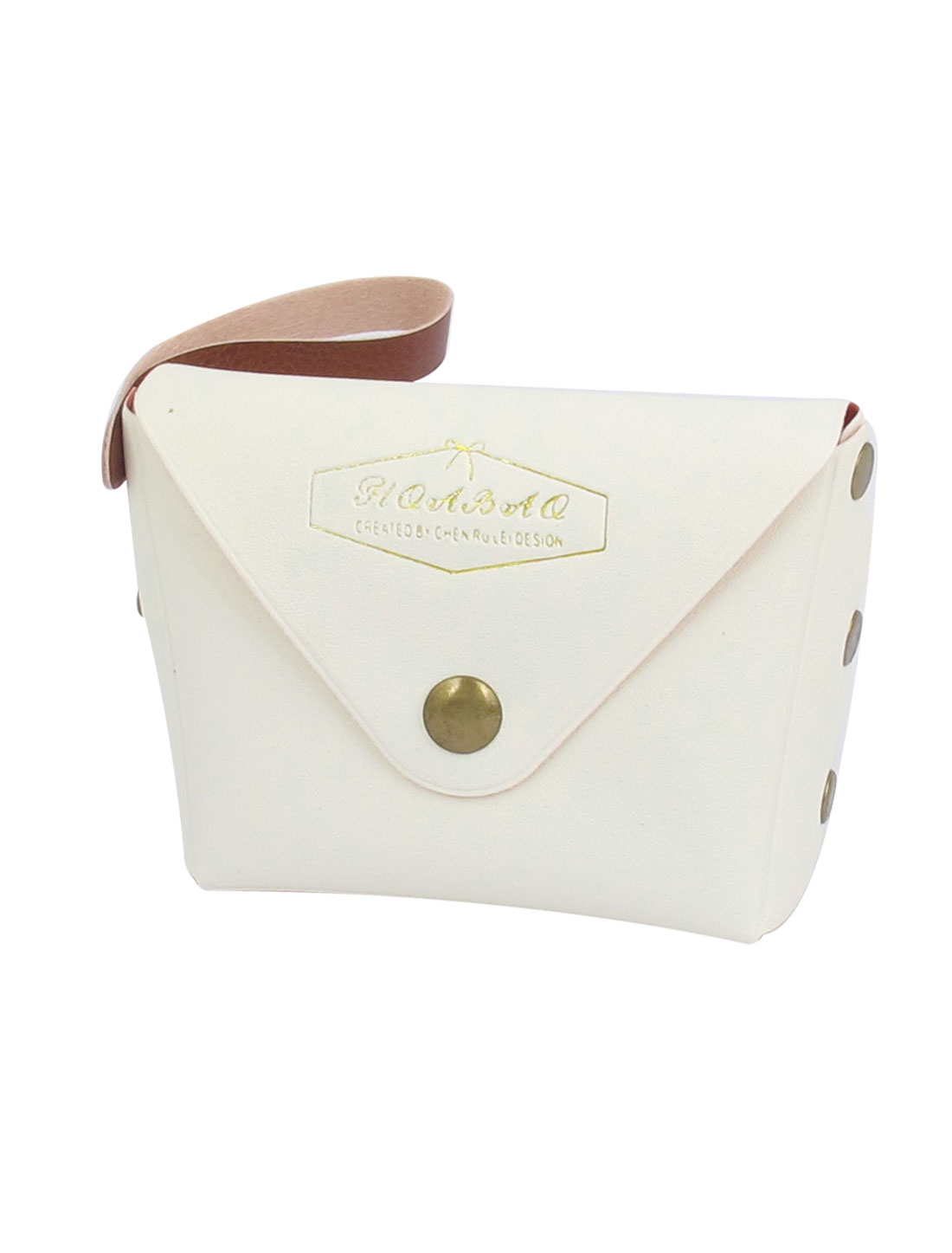 "3.7"" Length White Faux Leather Cute Mini Single Compartment English Words Pattern Portable Change Coin Purse Cash Key for Kids Ladies"