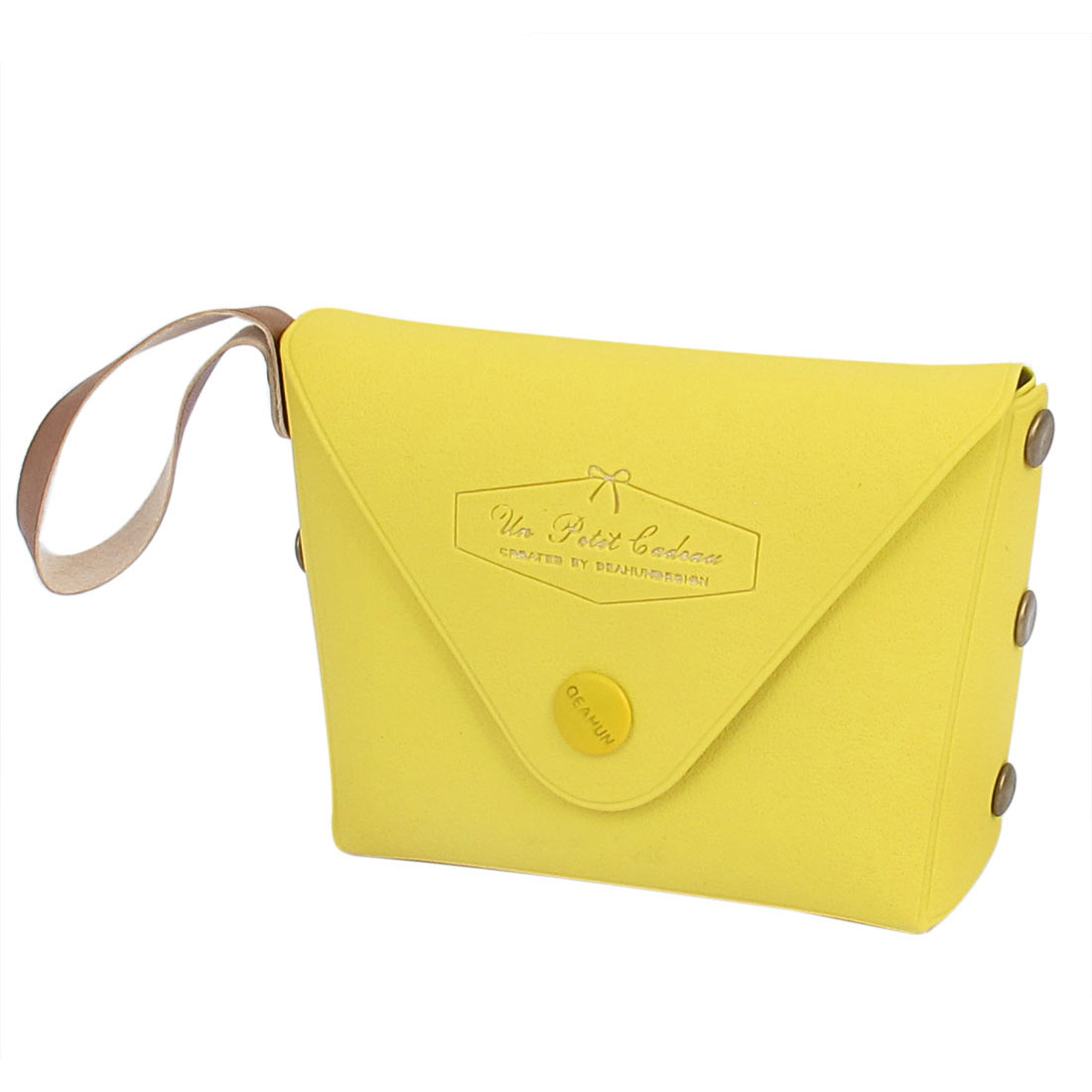 "3.7"" Length Yellow Faux Leather Metal Cute Mini Single Compartment Portable Change Coin Purse Cash Key for Kids Ladies"