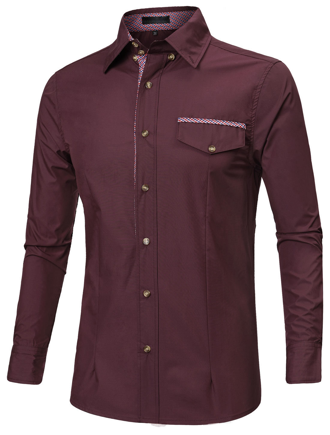 Men Point Collar Button Down Long Sleeves Plaid Print Slim Fit Shirts Burgundy L