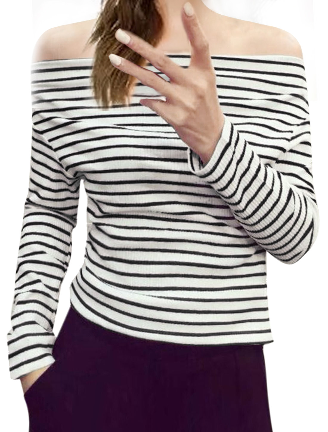 Women Off Shoulder Long Sleeves Pullover Ribbed Stripes Top White XS